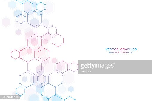 Abstract science background with hexagons and molecules : Vector Art