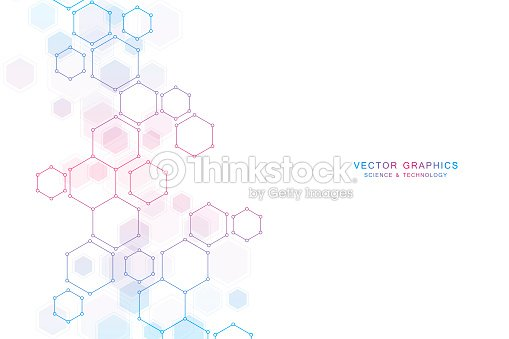 Abstract science background with hexagons and molecules : stock vector