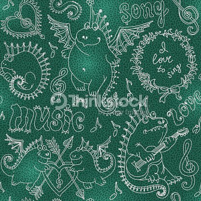 Abstract Seamless Pattern Of Funny Cartoon Dragons Playing Music And