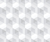 Abstract seamless pattern of hexagons. Geometric texture. An optical illusion of movement.