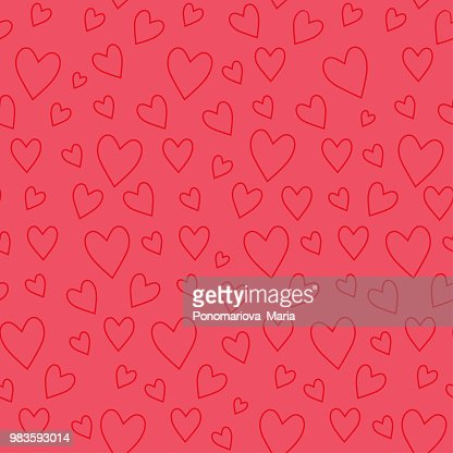 Abstract seamless pattern with red hearts on pink background : Vector Art