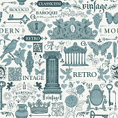Vector seamless pattern, hand drawn background on the theme of vintage art objects, furniture and Antiques in retro style. Can be used as wallpaper, wrapping paper, textile, fabric