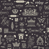 Vector seamless pattern, hand drawn background on the theme of vintage art objects, furniture and Antiques in retro style. Drawing chalk on the blackboard. Wallpaper, wrapping paper, textile, fabric