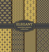 Abstract seamless patterns in gray and gold colors. Set of elegant retro backgrounds with geometric and floral ornaments. Vector collection.