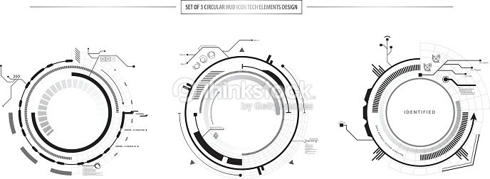 Abstract Set Of 3 Hud Elements Icon Hi Tech Design stock
