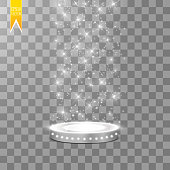 Abstract Shining Podium Background with Spotlights. White Glittering Scene. You Win Luxury, Success and Treasure Design. Game, Fashion and Gambling Space.
