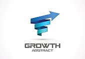 Abstract sign for business company. Corporate identity design element. Technology, Science, Industrial and growth idea. Arrow up, wave, connect, spring, rotation, spiral concept. Colorful Vector icon