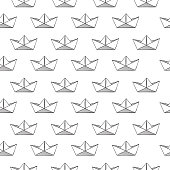 Abstract simple vector seamless pattern white background with paper origami ships.