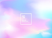 Abstract smooth Iridescent background. Holographic foil. Colorful fantasy wallpaper. Trendy pastel art. Vector illustration