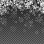 Abstract Snowflakes Overlay Effect on Transparent Background for Christmas and New Year Design. Vector Illustration.