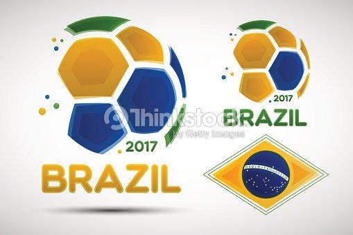 Balones de fútbol abstractos con colores de la bandera nacional brasileña.    Arte vectorial b75599f26b206