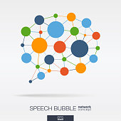 Abstract social media market background. Speech bubble message graphic design idea. Digital network polygonal line and circle system. Dialog quote balloon connected concept. Vector interaction icon