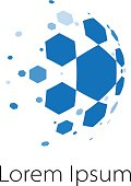 Abstract vector spherical symbol of honeycomb cells like a comet or soccer ball with disintegrating pieces