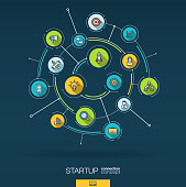 Abstract startup project, development background. Digital connect system, integrated circles, flat icons. Network interact interface concept. Idea bulb, rocket launch vector infographic illustration