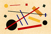 Abstract suprematism composition, horizontal flat illustration on old canvas