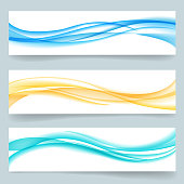 Set of abstract swoosh smooth wavy line headers or banners. Card paper, curve motion, label template. Vector illustration