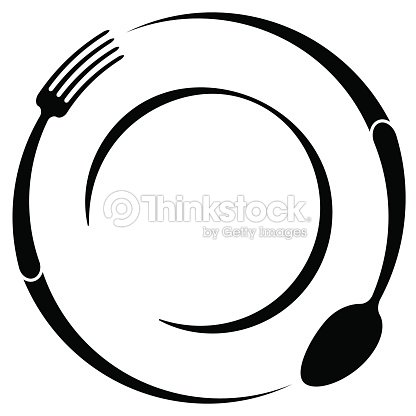 Abstract Symbol Of A Cafe Or Restaurant A Spoon And Fork On A Plate