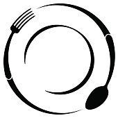 Abstract symbol of a cafe or restaurant. A spoon and fork on a plate. A simple outline