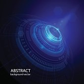 Abstract technology circles vector blue background. vector illustration.