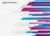 Abstract technology geometric blue and pink gradient bright color shiny motion horizontal background. Template for brochure, print, ad, magazine, poster, website, magazine, leaflet, annual report. Vec