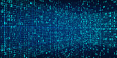 Abstract Technology Perspective of Binary code Background.Digital binary data and Secure Data Concept
