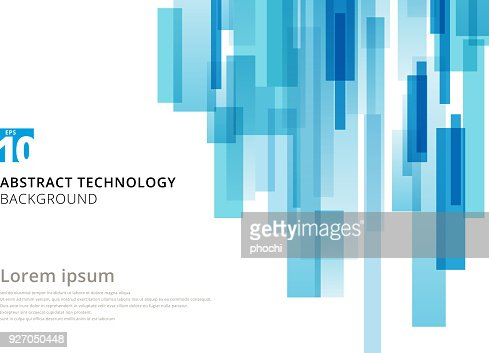 Abstract technology vertical overlapped geometric squares shape blue colour on white background with copy space. : Vector Art