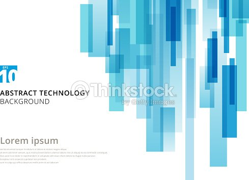 Abstract technology vertical overlapped geometric squares shape blue colour on white background with copy space. : stock vector