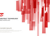 Abstract technology vertical overlapped geometric squares shape red colour on white background with copy space. Vector graphic illustration