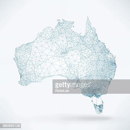 Abstract Telecommunication Network Map - Australia : stock vector