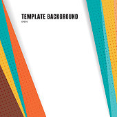 Abstract template header and footers colorful geometric triangles design with halftone on white background  and copy space. Decorative website layout or poster, banner, brochure, print, ad. Vector ill