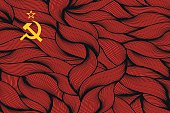 Abstract textured flag of Soviet Union. Vector colorful illustration.