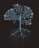 Abstract future, concept vector futuristic blue virtual graphic touch user interface HUD. Hologram tree and roots