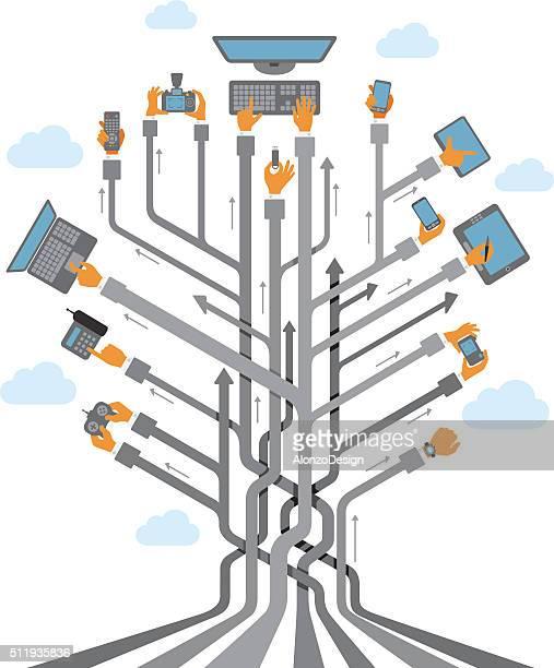 Abstrait arbre avec des mains à l'aide d'appareils mobiles