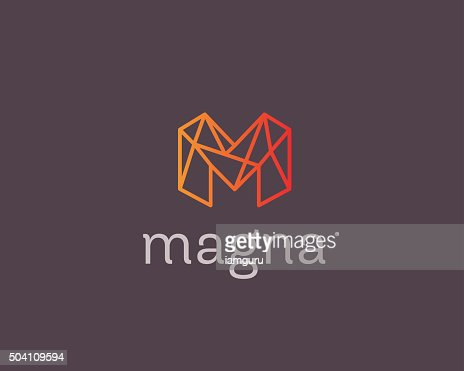 Abstract Trend Letter M Logo Design Template Colorful Structure