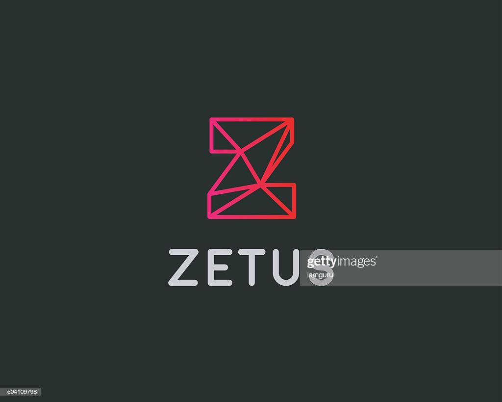 Abstract Trend Letter Z Logo Design Template. Colorful Structure Creative :  Vector Art