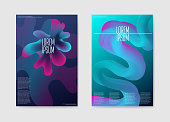 Abstract Trendy Futuristic Poster Liquid Background. Fluid Shapes Brochure Template. Banner Identity Card Design. Vector illustration
