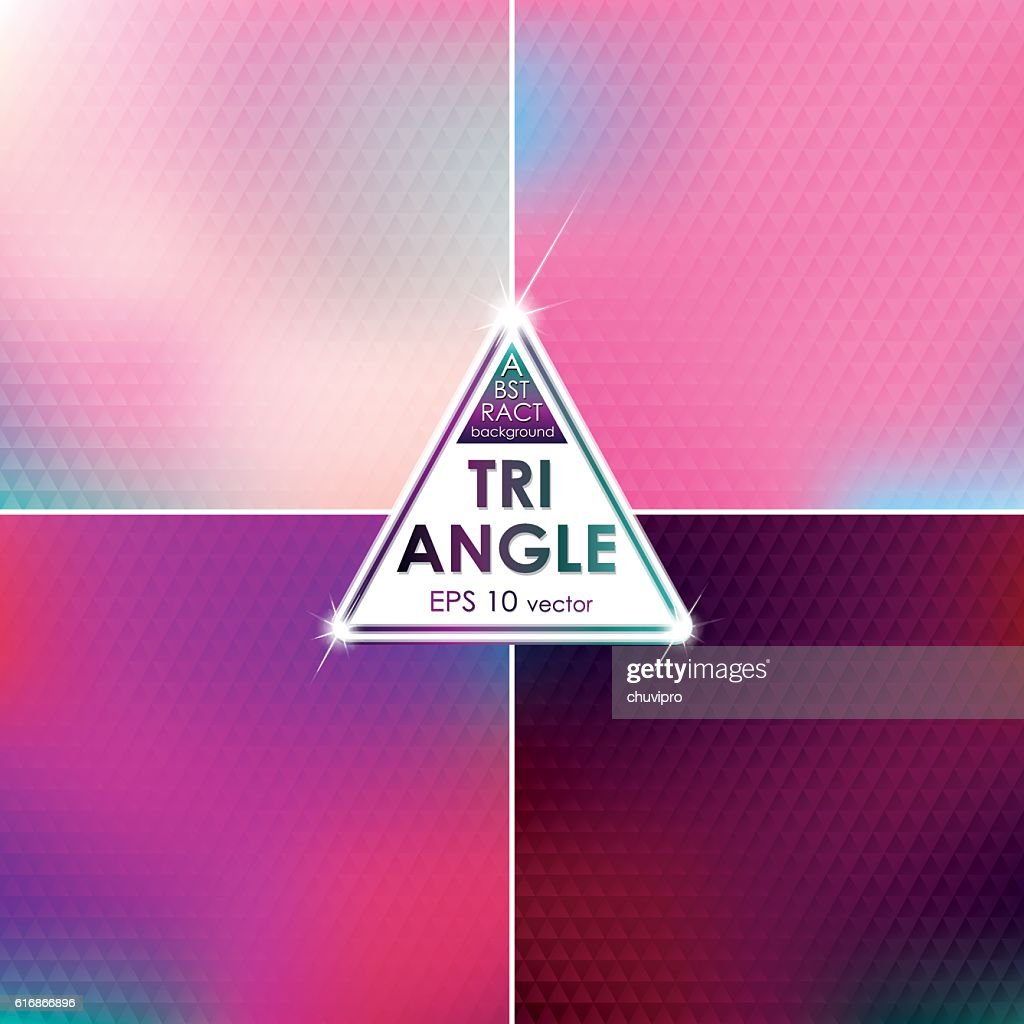Abstract Triangle shaped backgrounds set Pink-Blue Palette : Vector Art