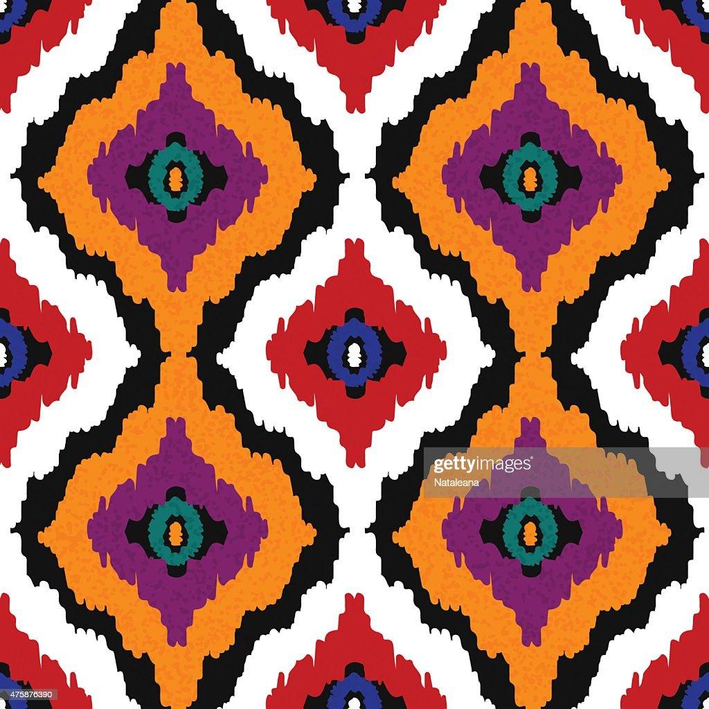 Lieblich Abstrakte Ethnischen Nahtlose Muster In Ethno Kunst. Ikat Muster