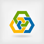 abstract tri-color interlocking hexagons. vector illustration - eps 10