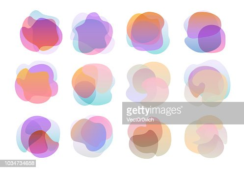 abstract twisted wavy gradient coloured universal shapes set : stock vector