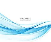 Abstract vector background, blue waved lines for brochure, website, flyer design. Transparent wave