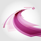 Abstract vector background element in red, pink and white colors curve perspective. Vector illustration