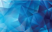Blue abstract polygonal vector background for use in design