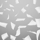 Abstract vector background with flying, falling, scattered office white paper sheets, documents. Background with flight paper, illustration of clear chaotic paper