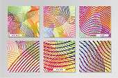 Smouth lines. Abstract vector backrounds set. Guilloche mash. Protective banknotes pattern.