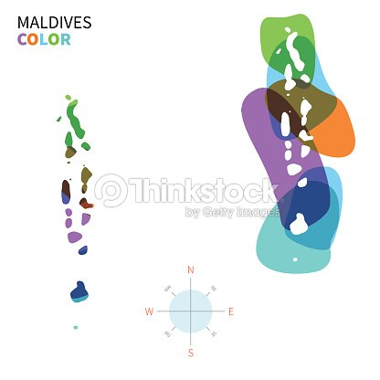 Abstract Vector Color Map Of Maldives With Transparent Paint Effect ...
