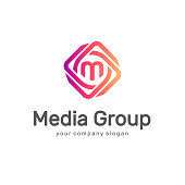 Abstract vector design element. Media Group. Multimedia logo.