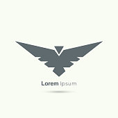Abstract vector design template. Flying bird with spread wings. Aviation, army badge