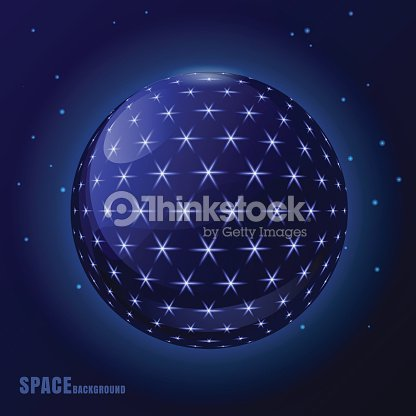 Abstract Vector Futuristic Space Background Sphere With Shining Stars Art