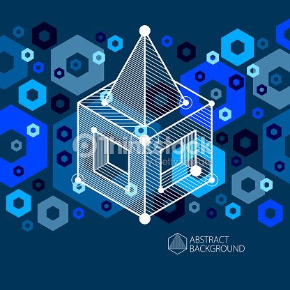 abstract vector geometric 3d elements in futuristic style blue black